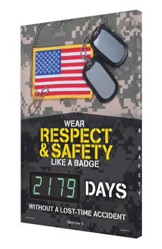 "Digi-Day® 3 Electronic Safety Scoreboards: Wear Respect & Safety Like A Badge 28"" x 20"" - SCK179"