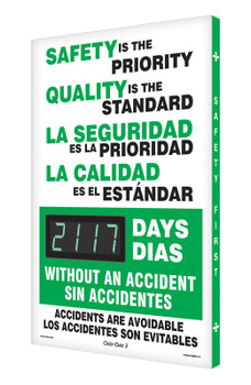 """Digi-Day® 3 Electronic Safety Scoreboards: Safety Is The Priority - Quality Is The Standard 28"""" x 20"""" - SHSCK117"""