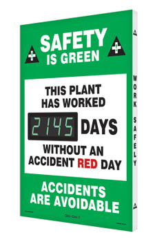 """Digi-Day® 3 Electronic Safety Scoreboards: Safety Is Green - This Plant Has Worked _Days Without An Accident Red Day - Accidents Are Avoidable 28"""" x 20"""" - SHSCK145"""