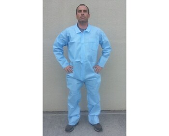 PolySpun Blue Coverall No Hood & Boot Size 3X - 25/Case