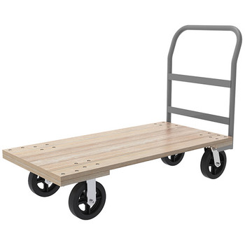 "Akro-Mils® Series 5 Wood Platform Truck, 24"" x 48"" Deck w/ 8"" Mold-On Rubber Casters, 1500 lb"