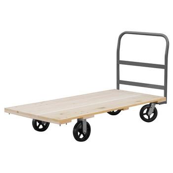 "Akro-Mils® Series 5 Wood Platform Truck, 30"" x 60"" Deck w/ 8"" Mold-On Rubber Casters, 1500 lb"