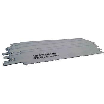 """Disston® Blu-Mol® Bi-Metal Reciprocating Saw Blades (Metal) (6475-50), 14 TPI, 6"""" x 3/4"""" x 0.035"""", 5/Pkg"""