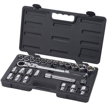 "GearWrench® 25-Piece Pass Thru®, 6-Point Standard Mechanics Tool Set, SAE/Metric, 1/2"" Drive"