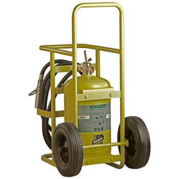 "Buckeye 65 lb Halotron® I Stored Pressure Wheeled Fire Extinguisher w/ Semi-Pneumatic Rubber Wheels, 50""H x 24""W x 41 1/2""D, 4A:60B:C"