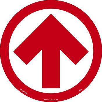 Arrow Graphic - Red On White - Walk On Floor Sign - 8 X 8 -Texwalk - WFS84TXRD