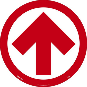 Arrow Graphic - Red On White - Walk On Floor Sign - 8 X 8 -Texwalk - Pk10 - WFS84TXRD10
