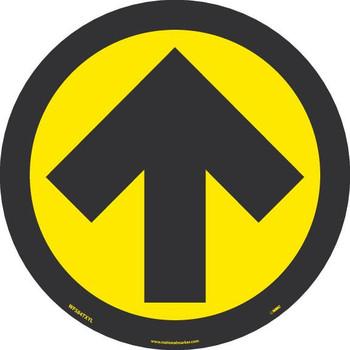 Arrow Graphic - Yellow On Black - Walk On Floor Sign - 8 X 8 -Texwalk - WFS84TXYL