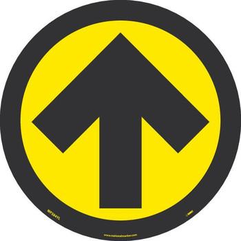 Arrow Graphic - Yellow On Black - Walk On Floor Sign - 8 X 8 -Psv Non-Skid Lam - WFS84YL
