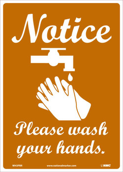 Notice Please Wash Your Hands - 14X10 - Removable PS Vinyl - WH3PBR