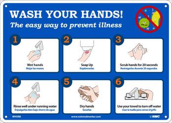 Wash Your Hands - 10X14 - Rigid Plastic - WH5RB