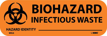 """Labels - Biohazard Infectious Waste - 1"""" X 3"""" - Ps Paper - 500/Rl - WOL6"""