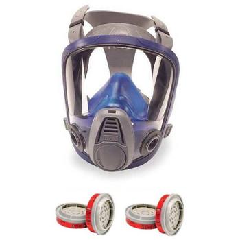 MSA Advantage 3200 Full Face Respirator + 2 Pair MSA 815369 Filters Combo (S, M, L)