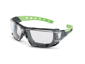 Brass Knuckle GRASSHOPPER Clear Lens Foam Gasket Green Accent Gray Safety Glasses - 10/Box