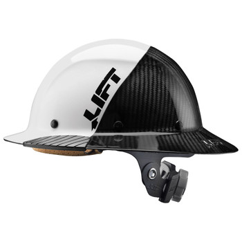 Lift Safety DAX Carbon Fiber Full Brim Hard Hat FIFTY50 White/Black - HDF50C-19WC