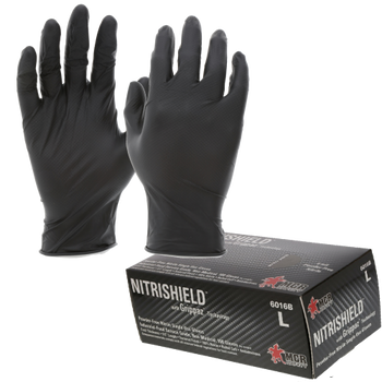 6 mil Black Nitrile MCR NitriShield with Grippaz Technology Gloves - 6016B - 100/Box