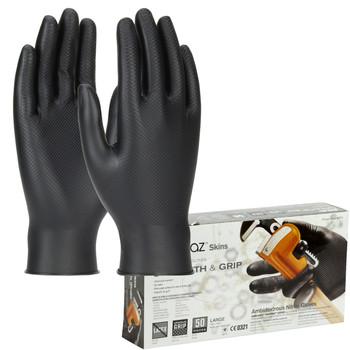 6 mil Black Nitrile PIP Grippaz Skins Gloves - 67-246 - 50/Box