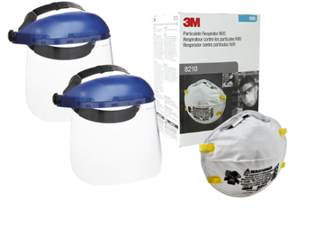3M 8210 N95 Particulate Dust Mask (20 masks) with SureWerx 390 Headgear w/Face Shield Combination