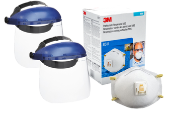 3M 8511 N95 Particulate Dust Mask (10 masks) with SureWerx 390 Headgear w/Face Shield Combination