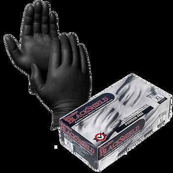6 Mil Black Nitrile Duraskin Blackshield Disposable Gloves - 2016BK - 100/Box