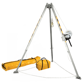 FallTech 8' 8' Confined Space Tripod System with 60' Galvanized Steel Personnel Winch - 7507