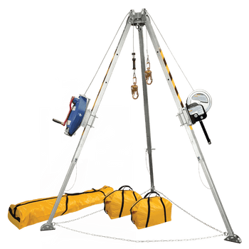 FallTech 8' 8' Confined Space Tripod System with 60' Galvanized Steel SRL-R and Personnel Winch - 7509