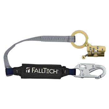 FallTech Hinged Trailing Fall Arrester with Anti-panic and 3' ViewPack Energy Absorbing Lanyard - 8388