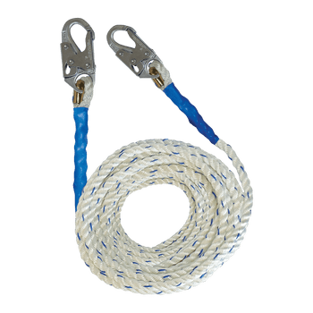 FallTech 50' Premium Polyester Blend Vertical Lifeline with Double-hooks - 8150DH