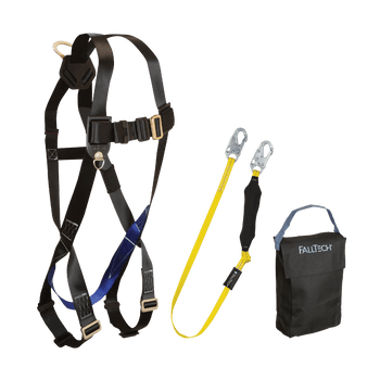 FallTech Harness and Lanyard 3-pc Kit Including Small Storage Bag (7007 8256LT 5005P) - KIT076LT5P