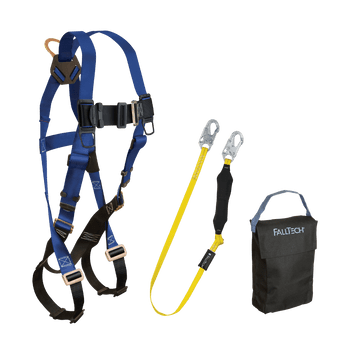 FallTech Harness and Lanyard 3-pc Kit Including Small Storage Bag (7015 8256LT 5005P) - KIT156LT5P