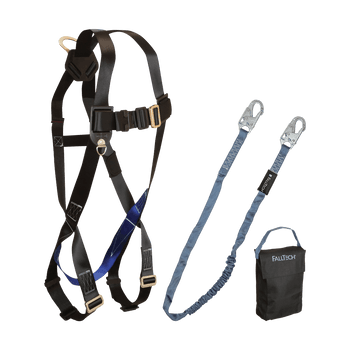 FallTech Harness and Lanyard 3 pc Kit Including Small Storage Bag (7007 8259 5005P) - 9010CP