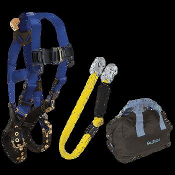FallTech Harness and Lanyard 3-pc Kit Including Medium Storage Bag (7016 8256LT 5006MP) - KIT166LT6P