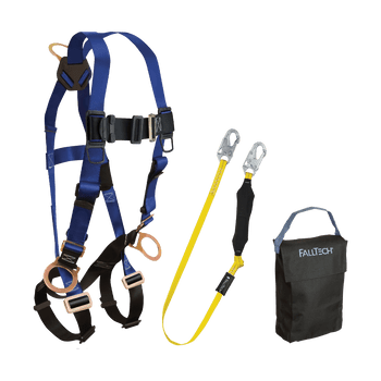 FallTech Harness and Lanyard 3-pc Kit Including Small Storage Bag (7017 8256LT 5005P) - KIT176LT5P