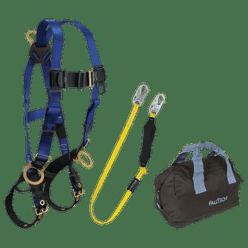 FallTech Harness and Lanyard 3-pc Kit Including Medium Storage Bag (7018 8256LT 5006MP) - KIT186LT6P