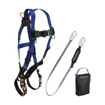 FallTech Harness and Lanyard 3-pc Kit Including Small Storage Bag (7016 8256 5005P) - 9000FW