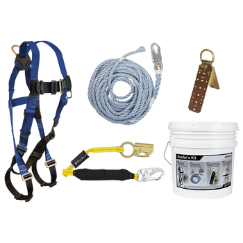FallTech Roofer's Kit with Hinged Reusable Anchor and Manual Rope Adjuster - 8593A