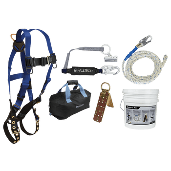 FallTech Roofer's Kit with Hinged Reusable Anchor Trailing Rope Adjuster and Large Bag - 8595RA