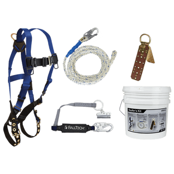FallTech Roofer's Kit with Hinged Reusable Anchor and Trailing Rope Adjuster - 8595A