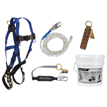 FallTech Roofer's Kit with Hinged Reusable Anchor and Trailing Anti-panic Rope Adjuster - 8596A