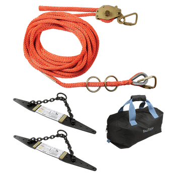 FallTech 50' Temporary Rope HLL System; 2-person Hollow-core Polyester Rope and Chain Roof Anchors - 7493A502
