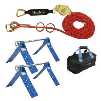 FallTech 60' Temporary Rope HLL System; 2-person with Kernmantle Rope and Dual Truss Roof Anchors - 7432602K