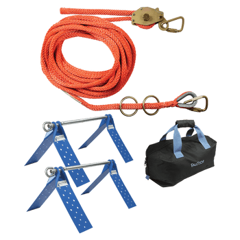 FallTech 50' Temporary Rope HLL System; 2-person Hollow-core Polyester Rope and Dual Truss Anchors - 7432502
