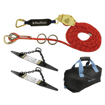 FallTech 60' Temporary Rope HLL System; 2-person with Kernmantle Rope and Chain Roof Anchors - 7493A602K