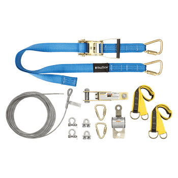 FallTech 60' SteelGrip Plus Temporary Cable HLL System with Web Pass-through Anchors - 60260AR