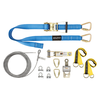 FallTech 100' SteelGrip Plus Temporary Cable HLL System with Web Pass-through Anchors - 602100AR
