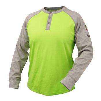 Black Stallion Flame Resistant 7 oz. Cotton Jersey Henley - Gray/Lime - TF2520-GL