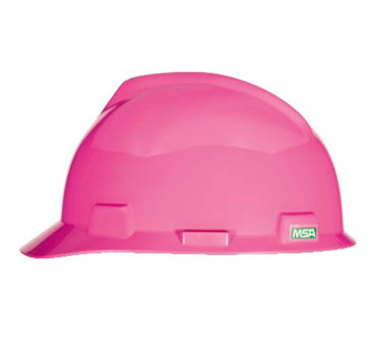 MSA V-Gard Slotted Cap, Hot Pink, w/Fas-Trac III Suspension - 10155230