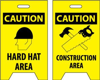 FLOOR SIGN, DBL SIDE, CAUTION HARD HAT AREA CAUTION CONSTRUCTION AREA, 20X12