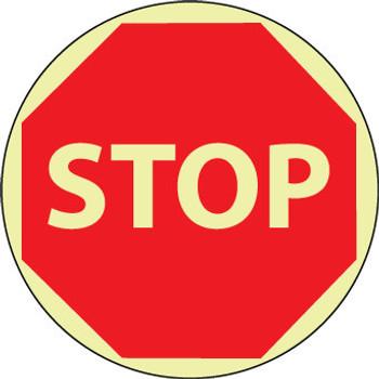 """FLOOR SIGN, GLOW WALK ON, STOP, 17"""" DIA"""