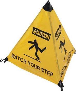 HANDY CONE FLOOR SIGN, CAUTION WATCH YOUR STEP, 18IN